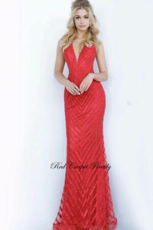 red halter sequin dress