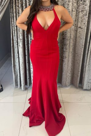 red sale dress