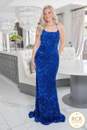Fully embellished figure hugging slinky dress