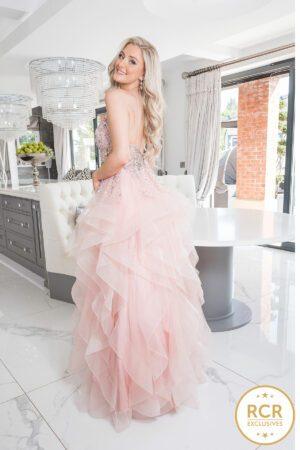 Tiered ruffled princess ballgown with handbeaded bodice
