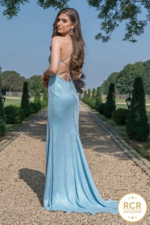 Sparkly slinky dress with corset back and leg split