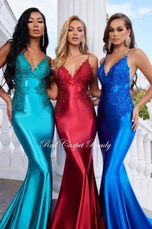 satin slinky mermaid style dress with low back
