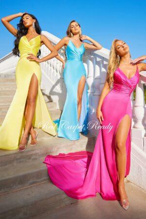 yellow blue pink dress leg split plunging neckline