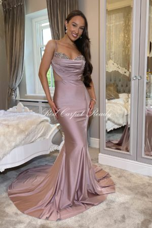 Stunning pink gown, embellished with crystals on the front bust, with a mesh waist and mermaid train.