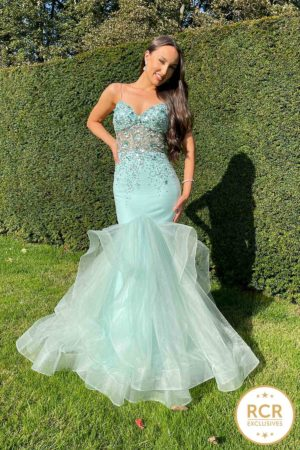 Fishtail gown with beaded bodice